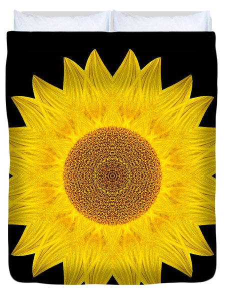 Yellow Sunflower Ix Flower Mandala Duvet Cover by David J Bookbinder