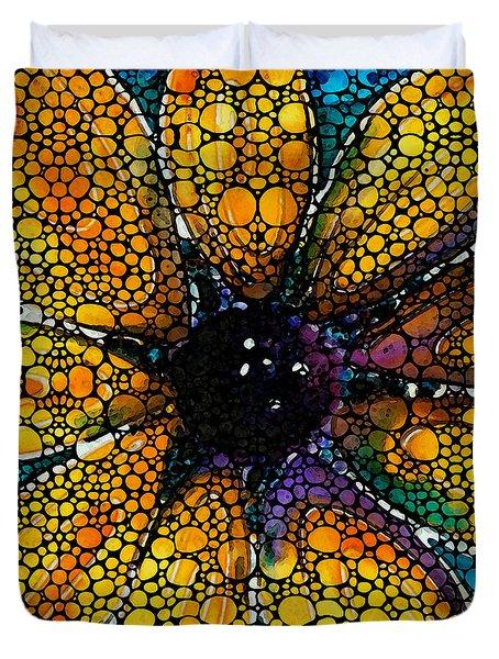 Yellow Sunflower - Stone Rock'd Art By Sharon Cummings Duvet Cover by Sharon Cummings