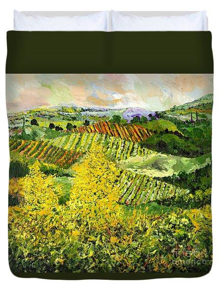 Yellow Trees Duvet Cover by Allan P Friedlander