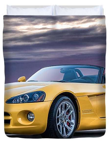 Yellow Viper Convertible Duvet Cover by Douglas Pittman