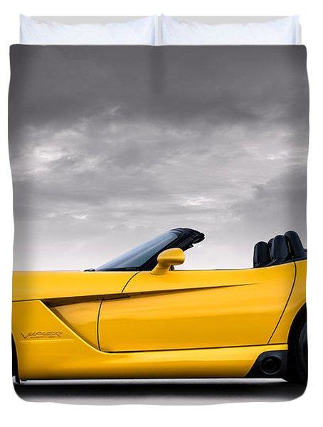 Yellow Viper Roadster Duvet Cover by Douglas Pittman