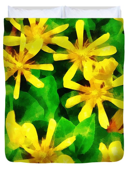 Yellow Wildflowers Duvet Cover by Susan Savad