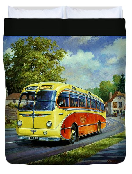Yelloways Seagull Coach. Duvet Cover by Mike  Jeffries