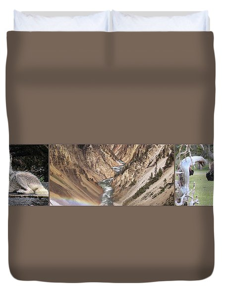Yellowstone National Park Montana  3 Panel Composite Duvet Cover by Thomas Woolworth