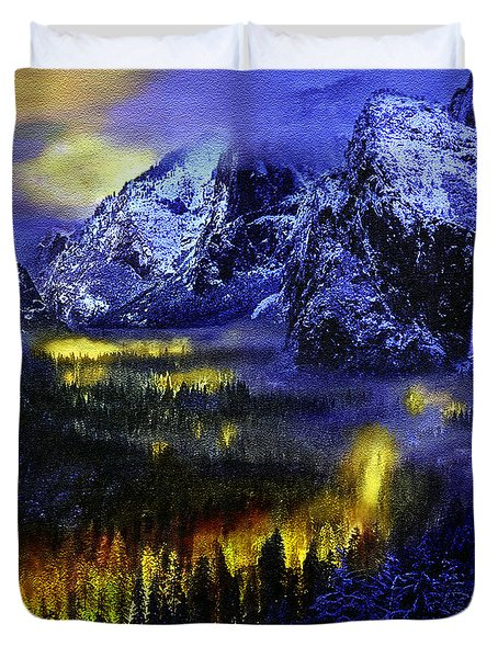 Yosemite Valley At Night Duvet Cover by Bob and Nadine Johnston