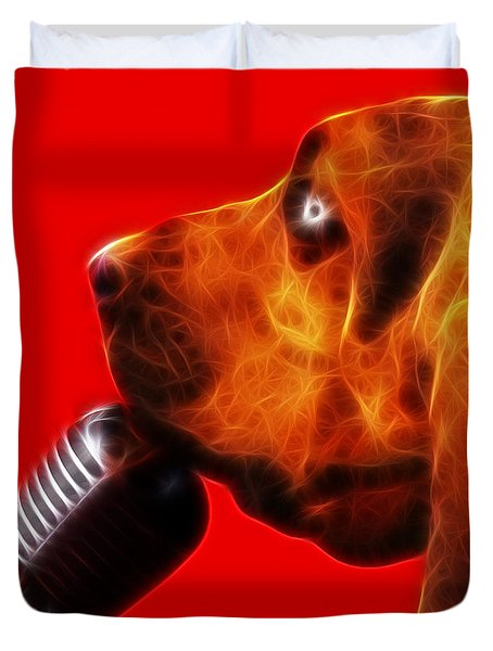 You Ain't Nothing But A Hound Dog - Red - Electric Duvet Cover by Wingsdomain Art and Photography