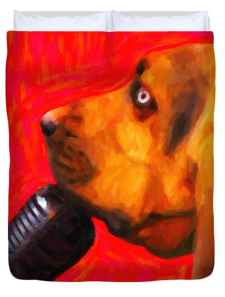 You Ain't Nothing But A Hound Dog - Red - Painterly Duvet Cover by Wingsdomain Art and Photography