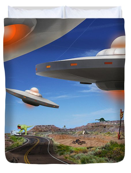 You Never Know What You Will See On Route 66 2 Duvet Cover by Mike McGlothlen