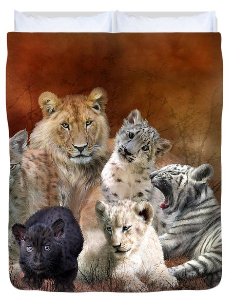 Young And Wild Duvet Cover by Carol Cavalaris