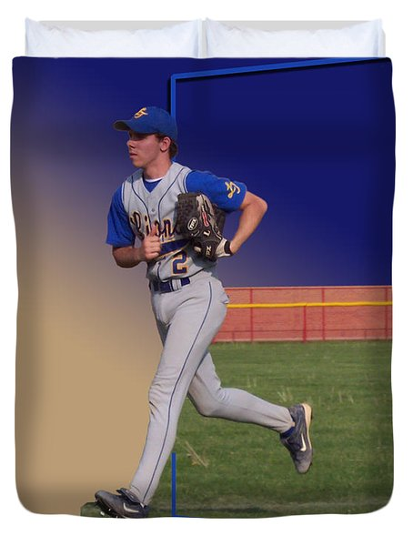 Young Baseball Athlete Duvet Cover by Thomas Woolworth