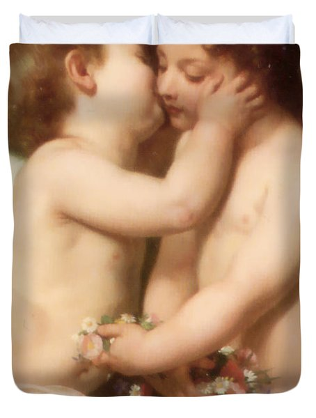 Young woman contemplating two embracing children Detail II Duvet Cover by William Bouguereau