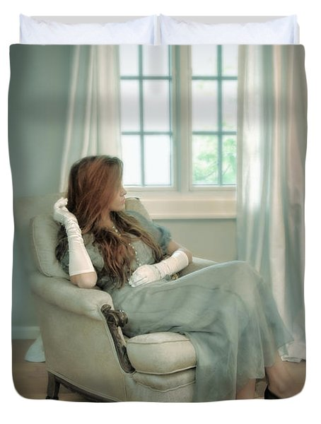 Young Woman In A Chair Duvet Cover by Jill Battaglia