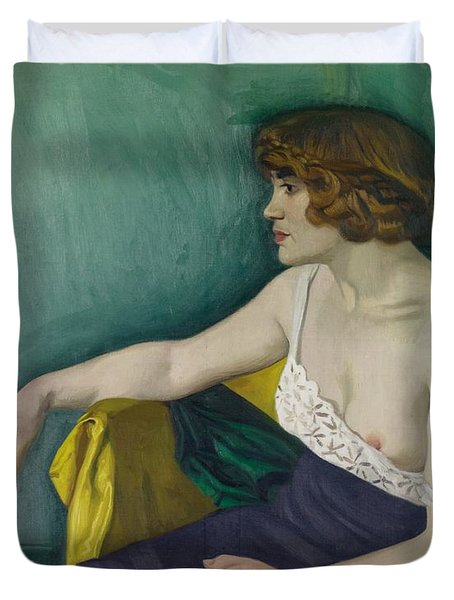Young Woman Seated In Profile Duvet Cover by Felix Edouard Vallotton