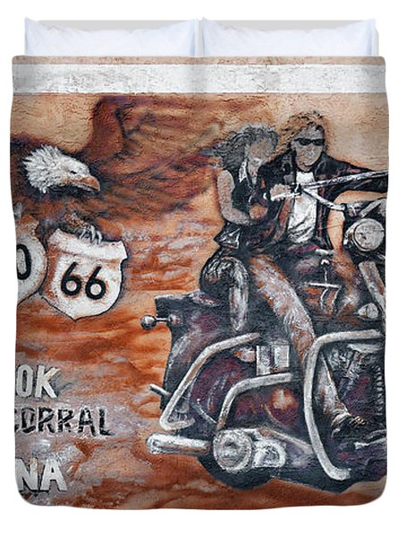 Young's Corral in Holbrook AZ on Route 66 - The Mother Road Duvet Cover by Christine Till