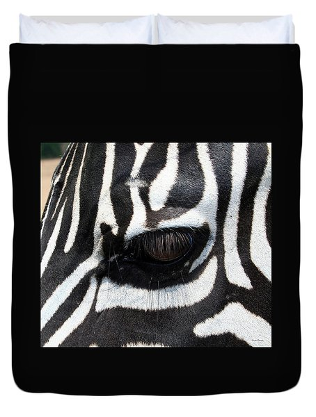 Zebra Eye Duvet Cover by Linda Sannuti