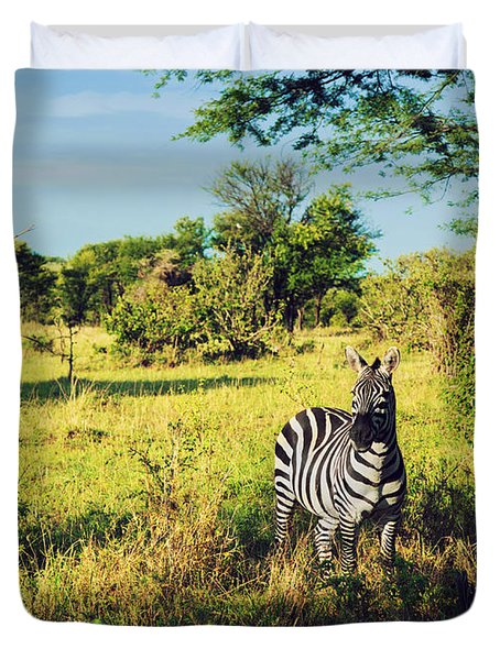 Zebra In Grass On African Savanna. Duvet Cover by Michal Bednarek