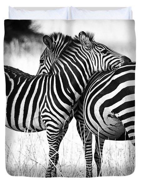 Zebra Love Duvet Cover by Adam Romanowicz