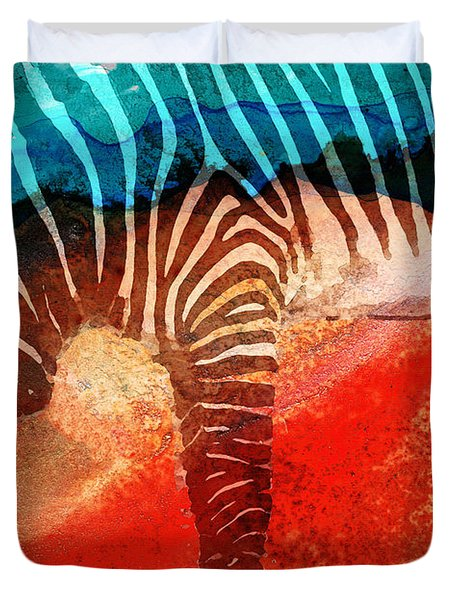 Zebra Love - Art By Sharon Cummings Duvet Cover by Sharon Cummings