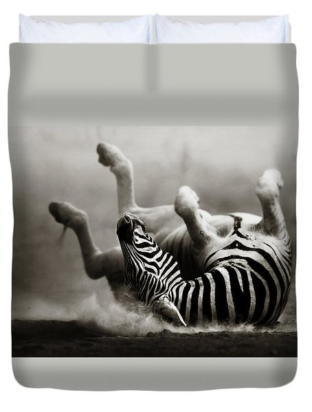 Zebra Rolling Duvet Cover by Johan Swanepoel