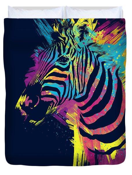 Zebra Splatters Duvet Cover by Olga Shvartsur