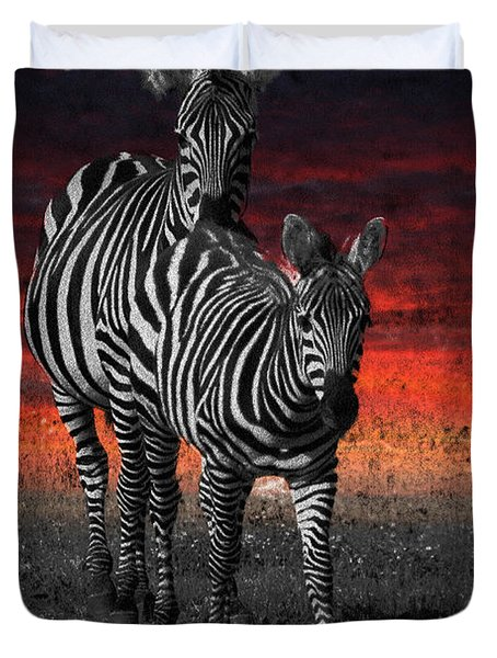 Zebra Train - Featured In Nature Photography - Wildlife And A Place For All Groups Duvet Cover by EricaMaxine  Price