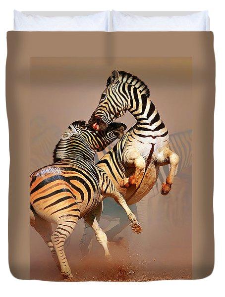 Zebras Fighting Duvet Cover by Johan Swanepoel