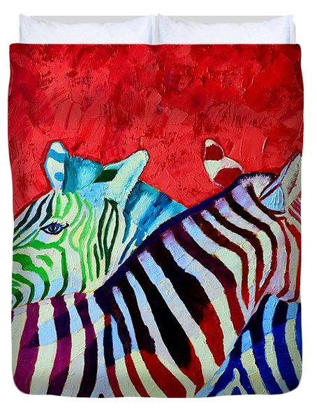 Zebras In Love  Duvet Cover by Ana Maria Edulescu