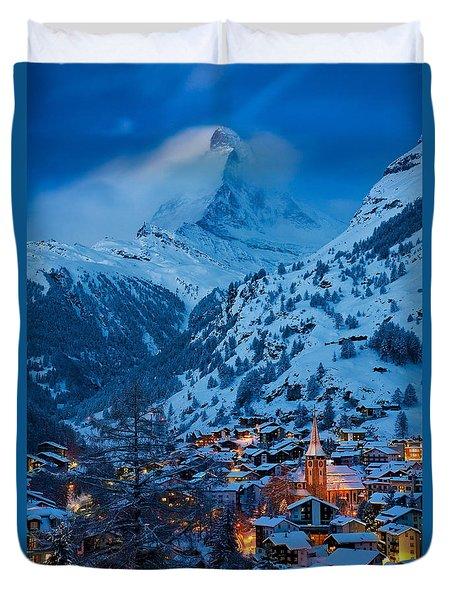 Zermatt - Winter's Night Duvet Cover by Brian Jannsen