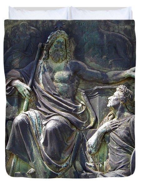 Zeus Bronze Statue Dresden Opera House Duvet Cover by Jordan Blackstone