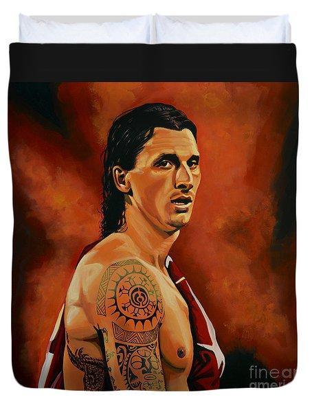 Zlatan Ibrahimovic Painting Duvet Cover by Paul Meijering