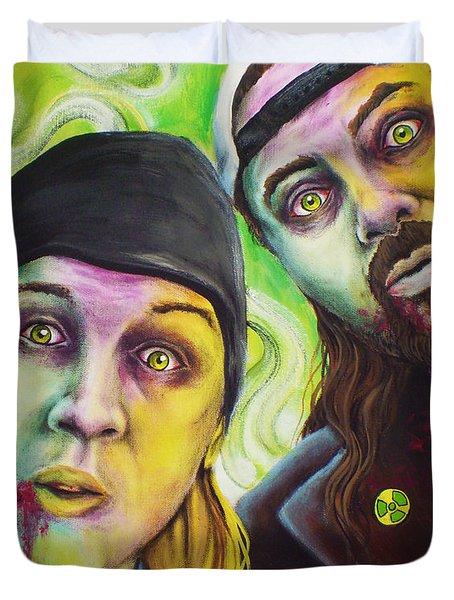Zombie Jay And Silent Bob Duvet Cover by Mike Vanderhoof