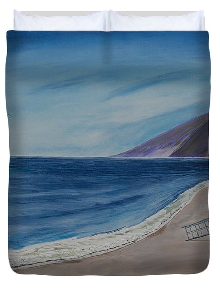 Zuma Lifeguard Tower #5 Duvet Cover by Ian Donley