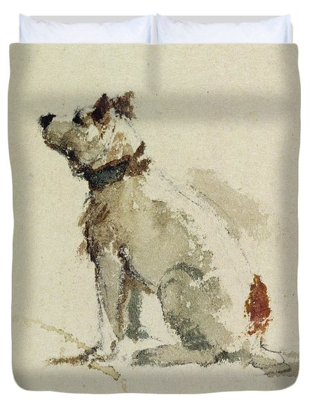 A Terrier - Sitting Facing Left Duvet Cover by Peter de Wint
