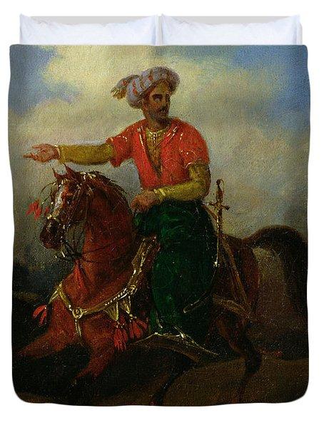 An Ottoman On Horseback  Duvet Cover by Charles Bellier