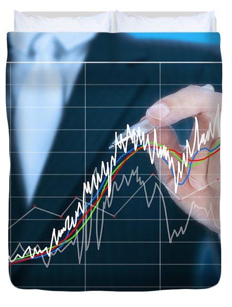 businessman writing graph of stock market  Duvet Cover by Setsiri Silapasuwanchai