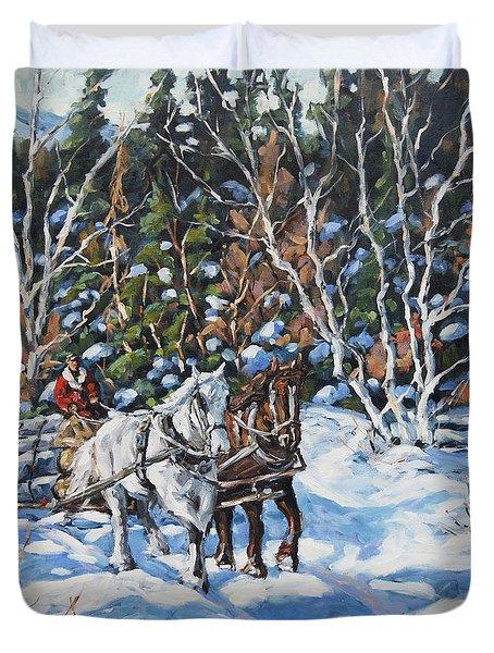 Horses Hauling Wood In Winter By Prankearts Duvet Cover by Richard T Pranke