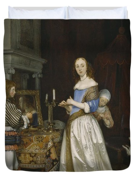 Lady At Her Toilette Duvet Cover by Gerard ter Borch