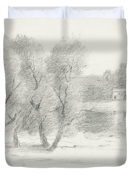 Landscape - Late 19th-early 20th Century Duvet Cover by John Henry Twachtman