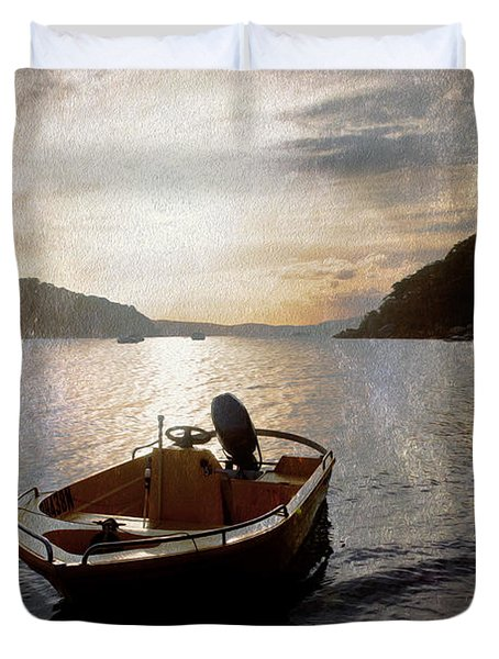 Sunset At Careel Bay Duvet Cover by Sheila Smart