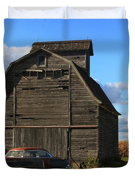 Vintage Cadillac And Barn Duvet Cover by Lyle Hatch