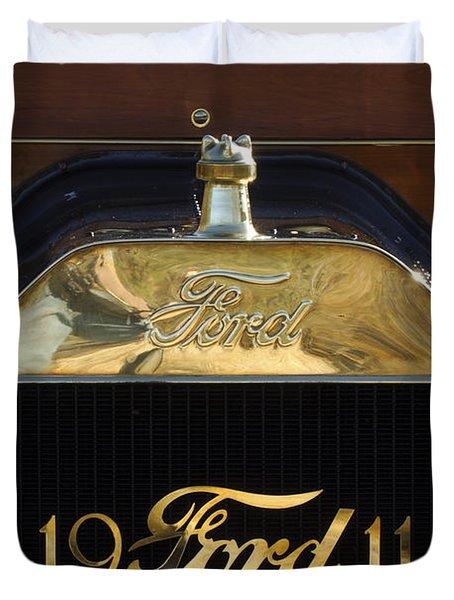 1911 Ford Model T Torpedo Hood Ornament Duvet Cover by Jill Reger