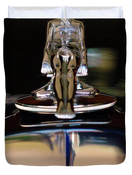 1934 Packard Hood Ornament 3 Duvet Cover by Jill Reger