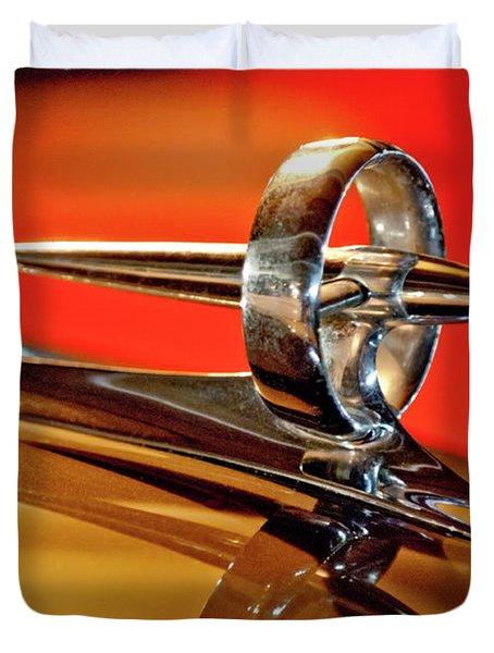 1947 Buick Roadmaster Hood Ornament Duvet Cover by Jill Reger