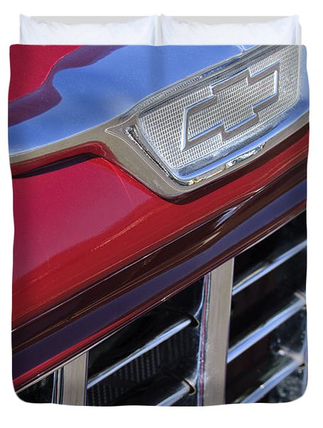 1955 Chevrolet Pickup Truck Grille Emblem Duvet Cover by Jill Reger