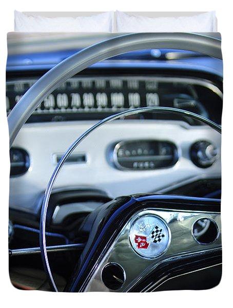 1958 Chevrolet Impala Steering Wheel Duvet Cover by Jill Reger