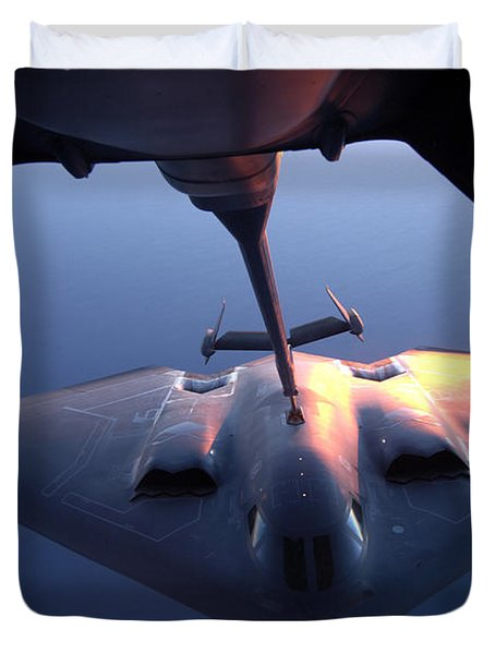 A B-2 Spirit Bomber Conducts Duvet Cover by Stocktrek Images