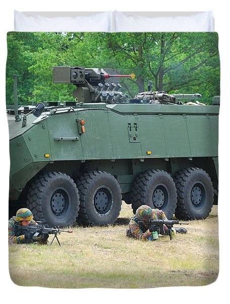A Belgian Army Piranha IIic With The Fn Duvet Cover by Luc De Jaeger