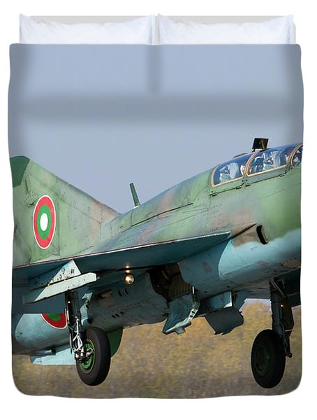 A Bulgarian Air Force Mig-21um Jet Duvet Cover by Anton Balakchiev