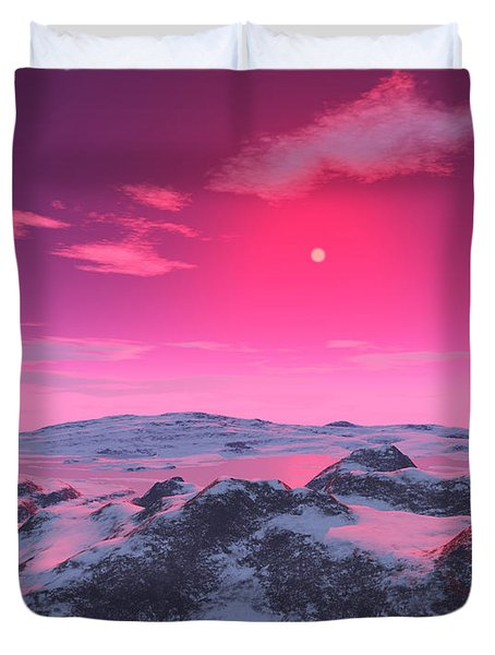 A Hypothetical Planet Orbiting A Red Duvet Cover by Ron Miller