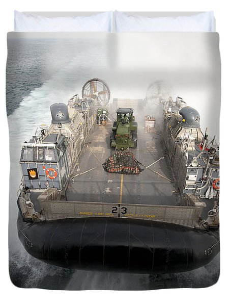 A Landing Craft Air Cushion Enters Duvet Cover by Stocktrek Images